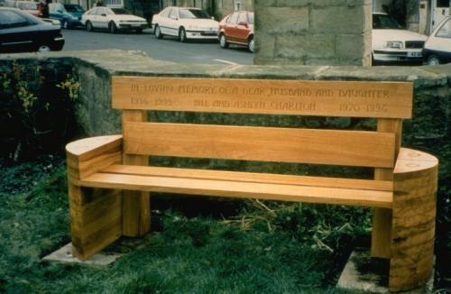 Commemorative bench in oak