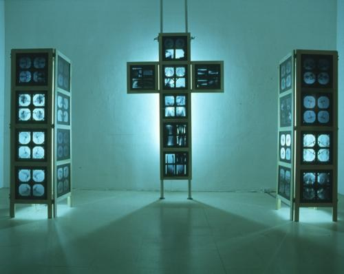 Cogito Ergo Sum, (hinged crucifix and plinths)