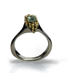 Ring with Demantoid Garnet, by Pamela Dickinson