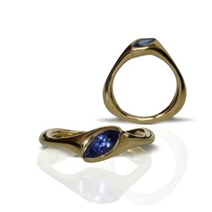 Triangular ring with Tanzanite, by Pamela Dickinson