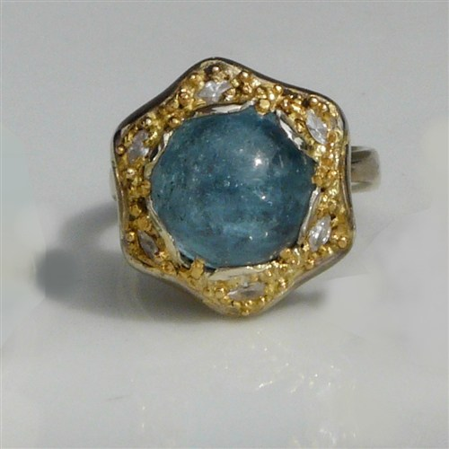 Aquamarine FLOWER with Diamonds