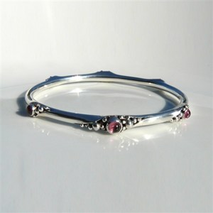 Bangle with 6 Pink Tourmalines, by Pamela Dickinson