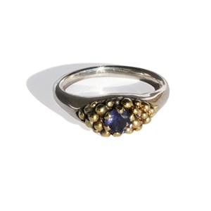 Ring with Gold beads and Iolite, by Pamela Dickinson