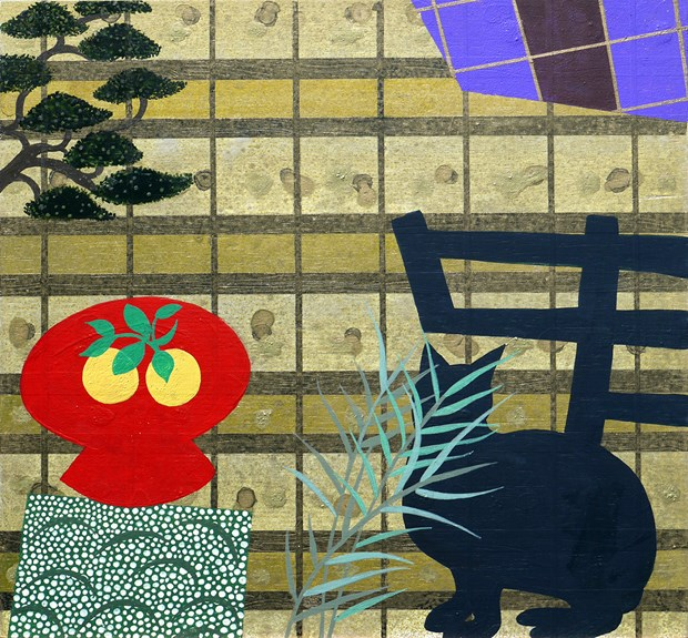 Japan - Red Pot and Black Cat.   2015