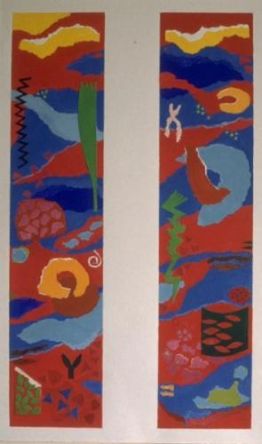 Design for two panel tapestry for CSL: MAFF: Main Entrance