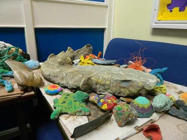 LCSS llanelli Cluster Primmary Schools Llanelli - Credit: Recycled Clay, newspaper, masking tape, poster paint, PVA