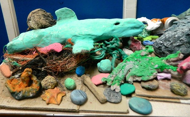 LCSS llanelli Cluster Primmary Schools Llanelli - Credit: Recycled clay, newspaper paper, masking tape, poster paint and PVA
