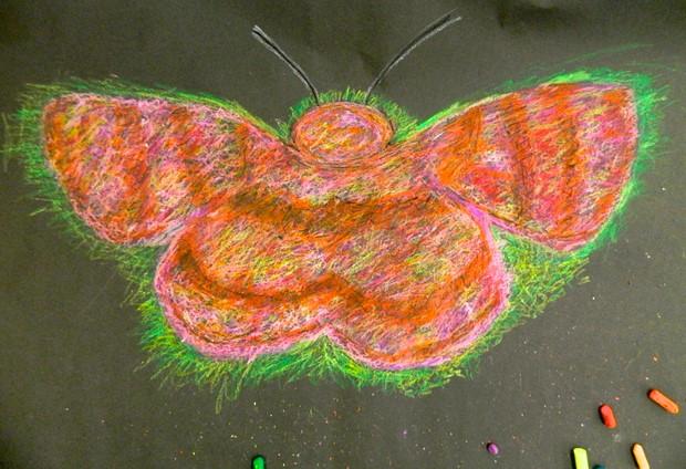 Hogmoor Inclosure School and Community Workshop Artworks - Credit: Chalk pastels on black paper