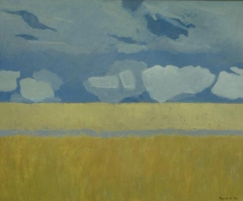Landscape, blue and ochre