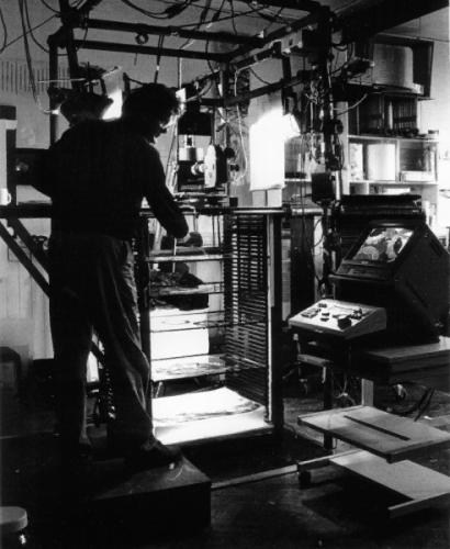 Photograph of artist invented film and print rig