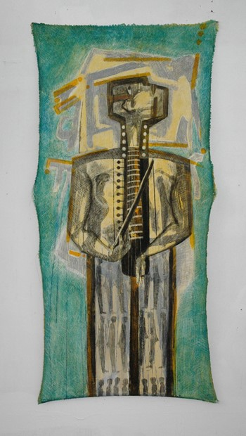 The Instrumentalist. oil and Indian ink on gesso on canvas 160cm x 82cm. 2021