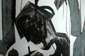 detail  'musicians who only play and sing for the drowning' Indian ink and oil on gesso on canvas, by Ricky Romain