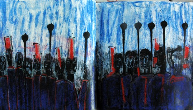 page from one of my sketchbooks 'The musicians who only play and sing to the drowning'
