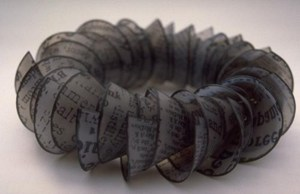 Nylon Newsprint Neckpiece, by Karen Whiterod