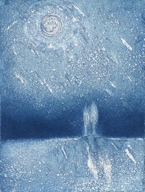 'Poet's Moon' etching/aquatint printed as card format