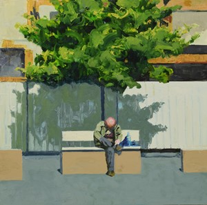 Man on a bench (Giffin Square) 3, by Trevor Burgess