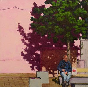 Man on a bench (Giffin Square) 4, by Trevor Burgess