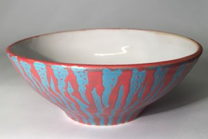 Red white and Blue stoneware bowl, by Lesley McShea