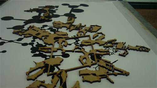 Laser Cut woodblock being printed from Bridging The Gaps Project, Loughborough University