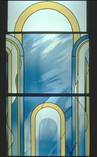 Arches stained glass window in private house