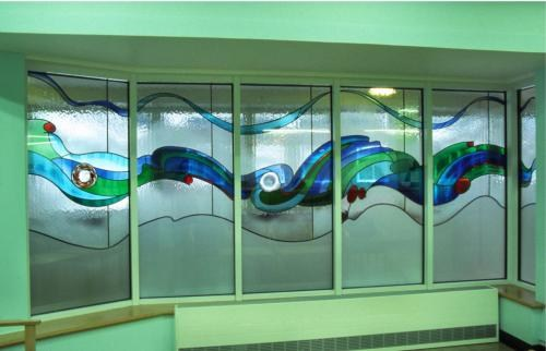Charing Cross Hospital London: two stained glass screens, entitled 'Moving Flowing Water'