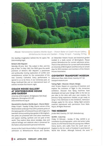 Warwickshire Gardens Worlds Apart Solo Exhibition, by Sharon Baker