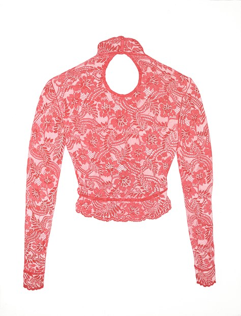 Red Lycra Lace Top