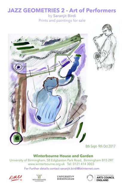 Jazz Geometries 2- Art of Performers by Saranjit Birdi at Winterbourne House until 9th Oct 2017