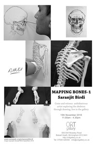 'Mapping Bones 1' - Installation and Exhibition at ORT Gallery 15th November 2018, by Saranjit Birdi