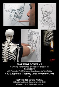 Mapping Bones 2- performance and drawing, by Saranjit Birdi