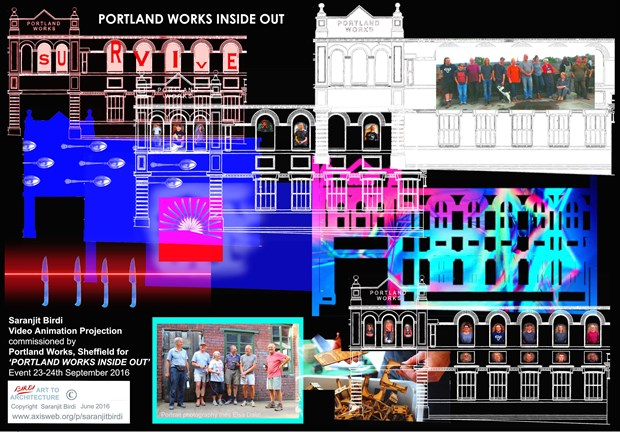 'Portland Works Inside Out' - video animation wall projection Commission
