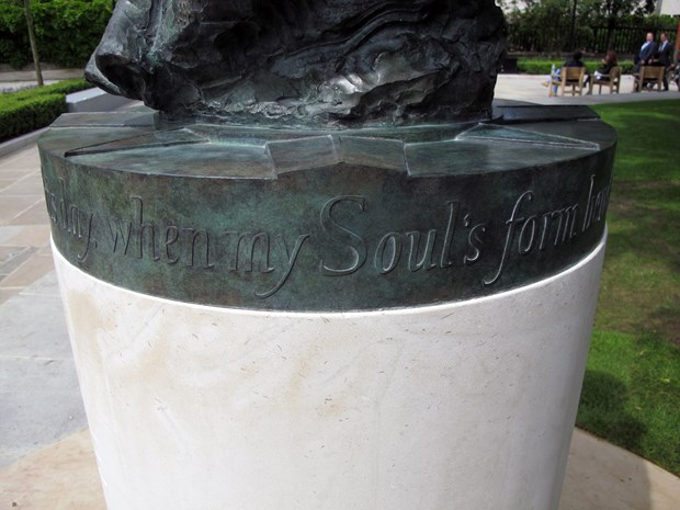 Lettering to statue of John Donne, St Paul's Cathedral