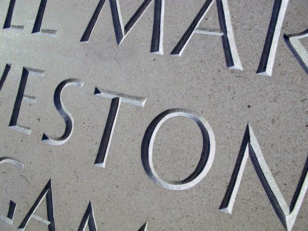 A contemporary headstone