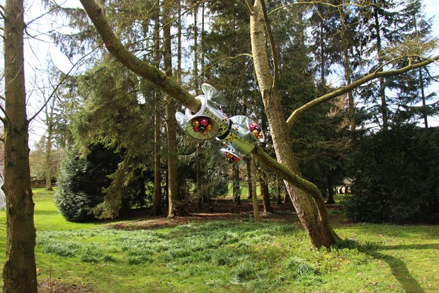 Kirsty E Smith's first outdoor being, Buggles, at : Burghley Sculpture Gardens 15.04.18-28.10.18