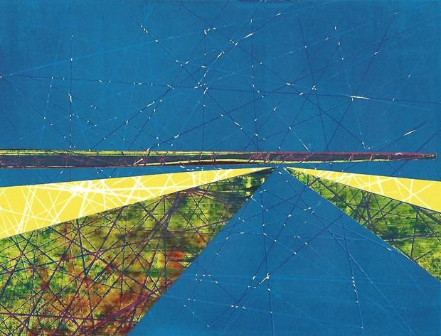 Blue Collage Landscape