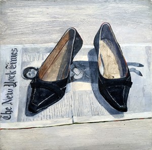 'The Shoes of Jackie O'.      Oil on board, by Jan lee Johnson