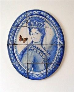 Azulejos medallions; Two painted ladies, by Jan lee Johnson