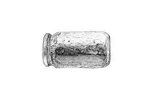 Find drawings (Jam jar; High tension cable; Cigar tin; Condom wrapper; Hypodermic needle), by Christina Bryant