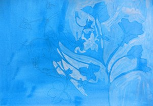 Composition with wild flower in blue, by Sue Hunt