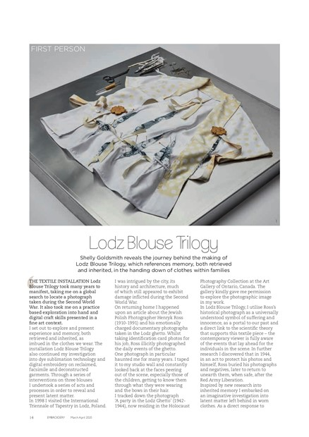 Lodz Blouse Trilogy Embroidery Magazine Article