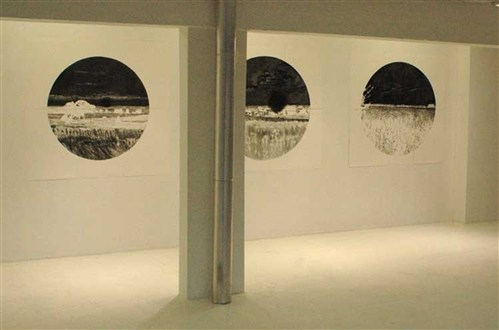 touching:clear installation view of Transition drawings