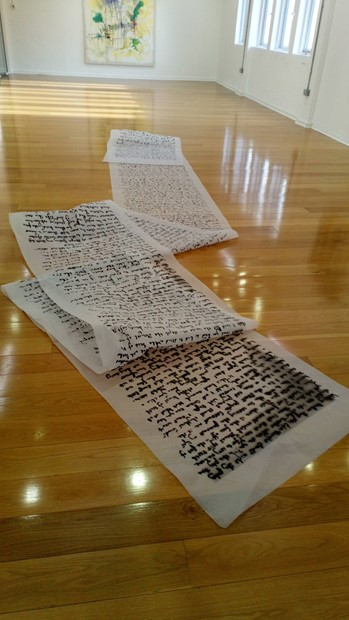 Vein - Spoken word, performance: Eleven metre scroll of transparent paper printed - Credit: Angela Kennedy