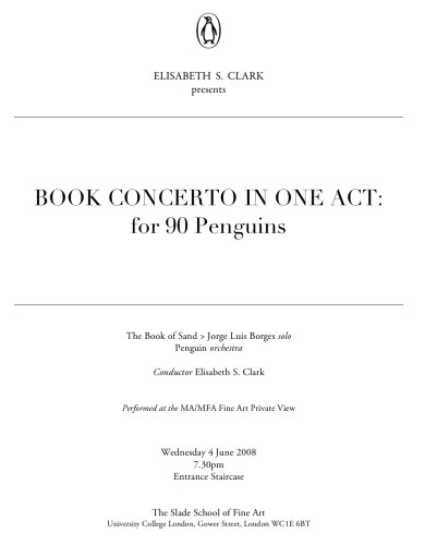 Book Concerto in one Act: for 90 Penguins