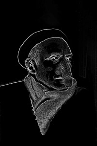 The Rape of the Philosophers Lamp (Portrait of Picasso) by Robin Nature-Bold, 2019, by Mike Chavez-Dawson