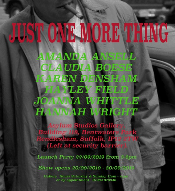 Just One More Thing launch party Sunday 22 September, 3-6pm, by Hayley Field