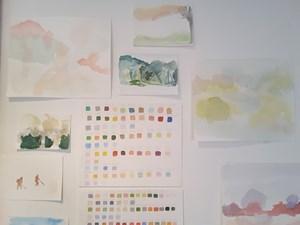Red Studio watercolours, by Hayley Field
