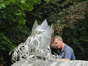 King Canute sculpture in stainless steel, by Christine Wilcox-Baker