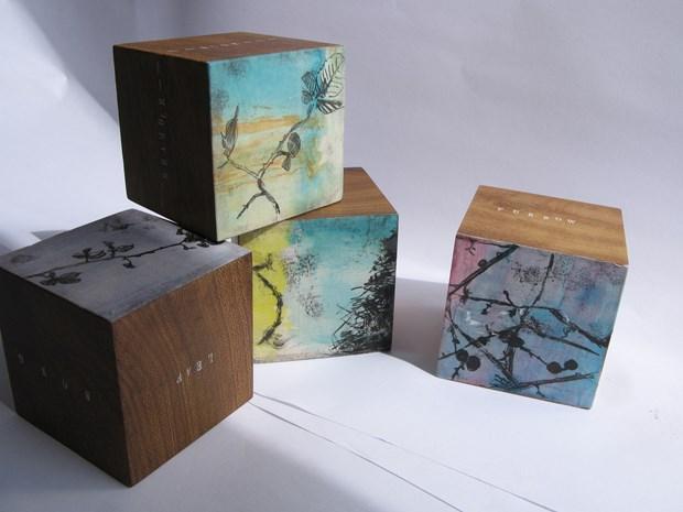 monoprint blocks- oak,furrow - leaf,song,tree,lattice - squiggle