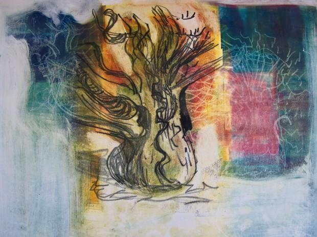 Sweet Chestnut tree at Dunsland (charcoal sketch)