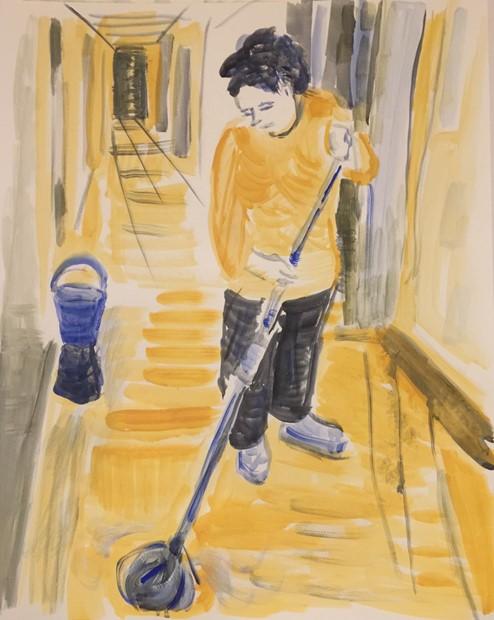 Mopping a Hospital Corridor